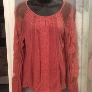 Lucky Brand Illusion Lace Top